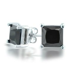 Bling Jewelry Mens Silver CZ Basket Set Princess Cut Black Stud Earrings 6mm Bling Jewelry. $15.98. .23in L x W. Total Weight 2 grams. 6mm black cubic zirconia. .925 Sterling Silver. Mens square stud earrings