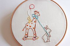 Stitch your very own Giraffe complete with his friends! Created from my own original illustration (see final image).  Matching Watercolor Print available - https://www.etsy.com/uk/listing/130408729/the-giraffe-ride-print  ♥ You will receive: * PDF Pattern with instant download after purchase * Easy to follow Instructions including transferring the image * Thread & Stitch guide * Finished size - 6 tall and 4.5 wide, although you are free to enlarge or decrease...
