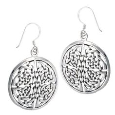 .925 Sterling Silver Heavy Round Endless Knot Celtic Dangle Earrings #Unbranded #DropDangle