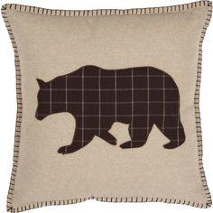 Wyatt Bear Applique Pillow 18 x 18 Throw Pillow Sets, Lumbar Pillow, Deer Pillow, Toss Pillows, Applique Cushions, Rustic Bedding, Plaid Fabric, Outdoor Throw Pillows, Hobbit