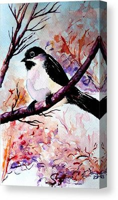 Watercolor Canvas Print featuring the painting Little Bird 10 by Medea Ioseliani