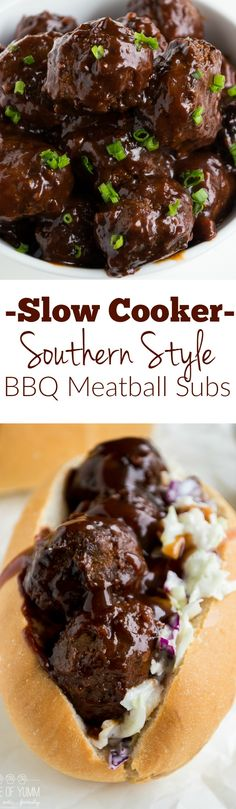 meatball sub got a southern makeover with sweet and tangy BBQ sauce and a creamy cole slaw! Perfect family dinner recipe! Plus can be made in the slow cooker!