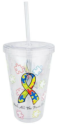 Autism Awareness Ribbon Insulated Travel Cup at The Autism Site