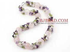 Serie rosa claro y rosa púrpura de cuarzo y amatista y olivino y Collar de Perlas Blancas