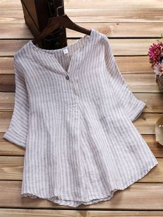 Women Loose Stripe Half Sleeve V-neck Irregular Hem Blouse Short Kurti Designs, Kurta Designs, Designer Kurtis, Western Tops, New Fashion Trends, Latest Fashion, Ribbed Turtleneck, V Neck Blouse, Short Tops
