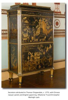 columnar legs on chippendale in chinoiserie style secretaire attributed to thomas chippendale c with chinese lacquer panels and english japanning