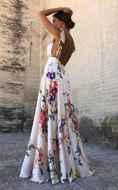 Sexy New Backless Floral Print Maxi Dress – modevova floral outfit summer,floral print dress, pretty dresses, floral formal dress, Robes Dos Nu Maxi, Pretty Dresses, Beautiful Dresses, Awesome Dresses, Backless Maxi Dresses, Sexy Maxi Dress, Dress Prom, Evening Dresses, Formal Dresses