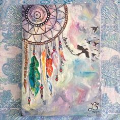 Dream catcher pastel painting. Easy-Acrylic-Canvas-Painting-Ideas-for-Beginners