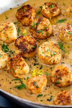 seafood recipes Pan seared scallops with lemon garlic sauce is a gourmet meal. The seafood is brined first for extra flavor and tenderness as is cooks in the hot pan. Seafood Recipes, Gourmet Recipes, Cooking Recipes, Healthy Recipes, Gourmet Meals, Healthy Scallop Recipes, Seafood Meals, Fancy Dinner Recipes, Romantic Dinner Recipes