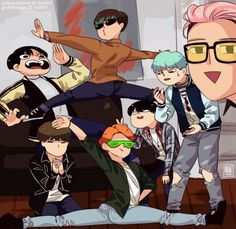 This is so cute omg. Jimin and Taehyung, I can't >< and Jeon Jungkook what are you looking at?