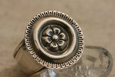 Silver Flower Ring  Silver Ring Big Silver  Flower  by PlainSilver