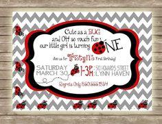 Cute, Whimsical, Chevron Ladybug Girls First Birthday Party Invitation!