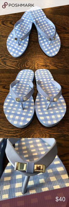 36f721929 NWOT Coach Flip Flops Periwinkle and white checked flip flop with silver  bows. Never worn