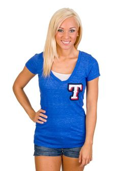 Texas Rangers Womens Royal Blue V-Neck w/ Crystals T-Shirt