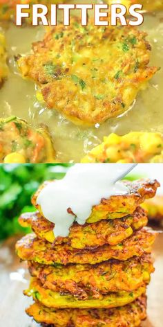 These Vegetable Fritters are truly the best! Made with zucchini, carrot, and corn, they make a great lunch or snack, and you will not be able to stop at one! #vegetables #fritters #vegetarian #lunch #mealprep #recipeoftheday #videorecipe #recipe #easyrecipe #healthyrecipe #healthy
