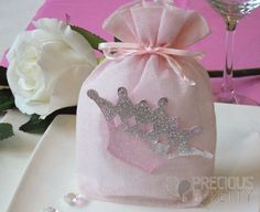 Crown themed baptism for girl and favors pouches with sugar coated almonds which are used during the ceremony Christening Favors, Party Favors, Greek, Wraps, Gift Wrapping, Crown, Kit, Girls, Handmade