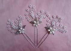 SET OF 3 Bridal Hairpins Beaded hair pin by MagicBluebellDesigns