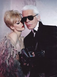 Vanessa Paradis and Karl Lagerfeld.