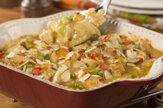 Our Hot Chicken Salad Casserole is a down-home casserole recipe that'll make your insides feel warm and cozy. With lighter ingredients and fresh veggies, this is an easy low carb recipe that's perfect for dinner or for bringing along to the next potl