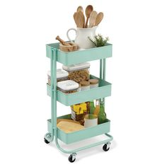 Bathroom Storage Cart Mint Lexington Rolling Cart By Recollections™ at Michaels Kitchen Utility Cart, Kitchen Cart, Kitchen Decor, Ikea Raskog Cart, Ikea Cart, Ikea 3 Tier Cart, Ikea Trolley, Salon Trolley, Home Office