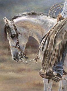 El Gato's Bit ~ Karen Aleman Beautifully done! Most Beautiful Animals, Beautiful Horses, Horse Gear, Cowboy Art, Horse Drawings, All The Pretty Horses, Equine Art, Animal Paintings, Horse Paintings
