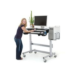 Insane: The true Rolls Royce of standing desks is the Elevate Adjust from Anthro(image below), which has got it all, including multiple shelves for keyboard and monitor. It's gigantic and is probably a bit excessive, but it's still sweet. It can hold up to four, yes four, computer monitors, and has beefy casters for shifting the desk around. It's got more than one individual needs, and at $3200 for the 60-inch costs more than most individuals are interested in paying, but could be great if…