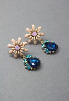 Delicate Pink Daisy and Sapphire Earrings - Retro, Indie and Unique Fashion