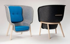 An incredibly designed chair by Benjamin Hubert. The Pod's height creates a cozy private space for working or reading.
