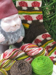 Pre-order  Retro Toadstool self patterning sock yarn kit with contrast solid colors. $60.00, via Etsy. I highly recommend Abi Grasso!!!  Fun Sock Yarn!