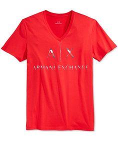 Armani Exchange Men's Graphic-Print Logo V-Neck T-Shirt - T-Shirts - Men - Macy's