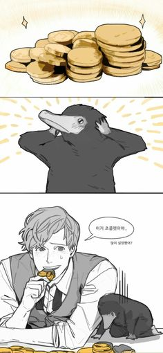 "I was just told by: ""Annie Kurtzburg""  /Newt: This is chocolate. (Disappointed, are you?) Niffler: :'(  \...................THANK YOU, I don't know why it won't show the comment but maybe my stuff is broken."