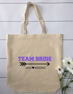 Personalized Team Bride Wedding Tote Bag for