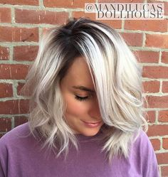 Pearlized blonde with stretched shadow root. Bayalage / Platinum Ash / Icy.. The Dollhouse Salon and Blow Dry Bar Richmond, IN
