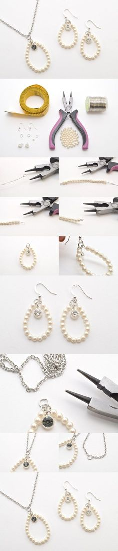 DIY Jewelry Set – Elegant Pearl Earrings and Necklace by DaisyDDD