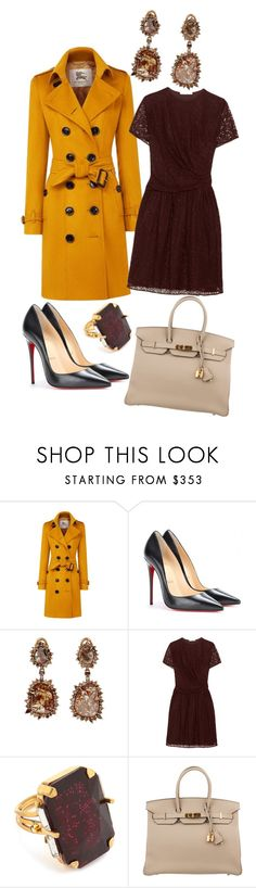 """""""Happy Thanksgiving!"""" by ultraviolet92 ❤ liked on Polyvore featuring Burberry, Christian Louboutin, Sharon Khazzam, Carven, Erickson Beamon and Hermès"""