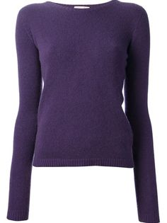 ROBERTO COLLINA Pullover Sweater - Violet cashmere sweater fro Robert Collina featuring a ribbed crew neck, long sleeves, ribbed cuffs, a slim fit and a ribbed hem.