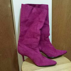 Steve Madden boots Magenta pointy toe boots. They needed a little dusting off. One heel needs some love. Price reflects. Make an offer! Steve Madden Shoes Heeled Boots