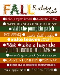 Fall Bucket List {and free template}...love that she adds the blank template too so you can add your own activities! via @How to Nest for Less