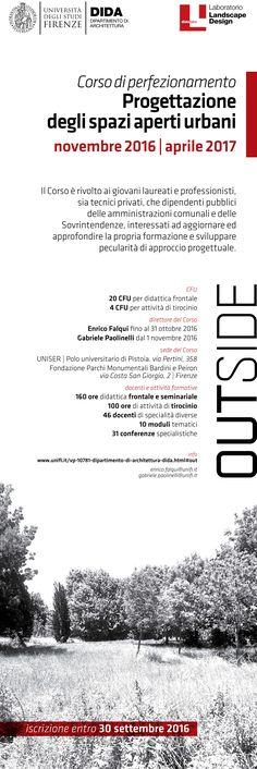 http://www.nipmagazine.it/blog/419/outside-ndash-progettazione-degli-spazi-aperti-urbani  CORSO DI PERFEZIONAMENTO PROGETTAZIONE DEGLI SPAZI APERTI URBANI #DIDA #UNIFI  ISCRIZIONI APERTE FINO AL 30 SETTEMBRE