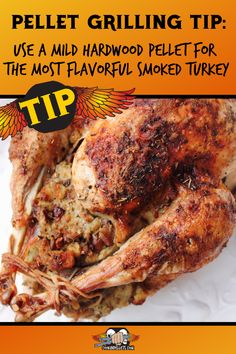 Smoking Turkey is a great way to have a flavorful, perfectly moist turkey for Thanksgiving dinner or a big family dinner. Use a mild hardwood pellet for the best tasting smoked turkey pellet grilling style! #Thanksgiving #turkey Pellet Grill Recipes, Pork Roast Recipes, Traeger Recipes, Pulled Pork Recipes, Bacon Recipes, Turkey Recipes, Chicken Recipes, Grilling Tips, Grilling Recipes