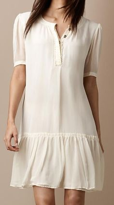Burberry Brit silk ruffle front dress Burberry Brit effortless round neck silk dress with elegant ruffle front Relaxed silhouette with delicate frill h Mode Outfits, Dress Outfits, Casual Dresses, Short Dresses, Fashion Dresses, Summer Dresses, Feminine Mode, Burberry Dress, Burberry Brit