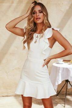 7369159b663 Sleeveless Ruffles Backless Female Mermaid Dress – iulover White Dress  Outfit