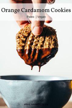 Orange Cookies with Chocolate (paleo, vegan) Chocolate dipped grain free and vegan cookies with orange and cardamom! Paleo Cookie Recipe, Paleo Cookies, Delicious Cookie Recipes, Paleo Treats, Vegan Dessert Recipes, Yummy Cookies, Dairy Free Recipes, Real Food Recipes, Yummy Food