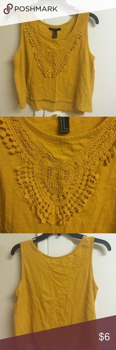 Forever 21 Crochet Tank Size M. Mustard color crochet cropped tank. Price firm Forever 21 Tops Crop Tops
