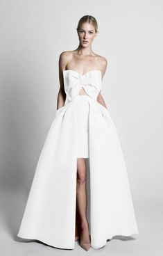 Silk faille Sweetheart strapless neckline Oversized bow and cut-out on front Detachable pleated skirt with concealed back zipper Side slit pockets Fully lined Shell: 1… Wedding Dress Suit, Wedding Jumpsuit, Wedding Gowns, All Fashion, Dress Fashion, Fashion Show, Strapless Dress, Prom Dresses, Bow Tops