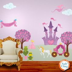 Princess wall decals. Would be cool to paint this too