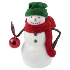 Holiday Snowman Figurine With Jingle Bell Ornament
