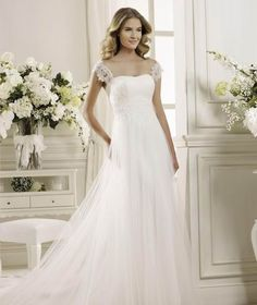 Cheap Classic Simple Sheath/Column Straps Beading&Sequins Lace Sweep/Brush Train Tulle Wedding Dress Free Measurement