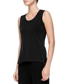 Knit Scoop-Neck Tank Top, Women's, Size: X-LARGE (14/16), Black - Misook