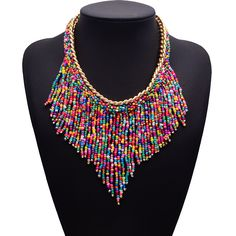 Statement Necklace Fashion Women 2015 Big brand Bohemia ethnic gold Chain small bead tassel Necklaces & Pendants Vintage Jewelry-in Pendant Necklaces from Jewelry & Accessories on Aliexpress.com | Alibaba Group